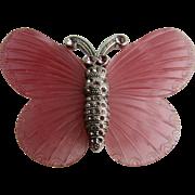 Vintage Kenneth Lane Pink Carved Resin Butterfly Brooch