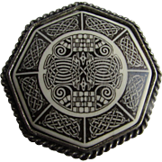 Vintage Pewter Frame Printed Celtic Knot Design on Octagon Porcelain Large Brooch