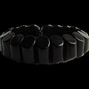 Art Deco Cylinder Rod Angle Cut Black Bakelite Link Elastic Bracelet