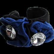 Vintage Signed Treasures Blue Suede Italian Leather Rock Crystal 20mm Facetted Gem Cuff Bracelet