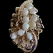Vintage Contra Luz Opal GP Floral Spray Brooch