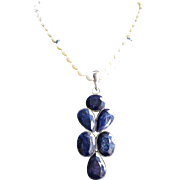 Little Creations Sterling Silver Dyed Quartz, Blue Sapphire Rondelles Freshwater Cultured Pearl Necklace