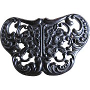 Antique Victorian Mourning Jewelry Pierced GUTTA PERCHA Butterfly Brooch - BOOK PIECE
