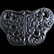 Antique Victorian Mourning Jewelry Pierced GUTTA PERCHA Butterfly Brooch - BOOK PIECE