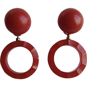 Little Creations Red Bakelite Cabochon and Carved Red Bakelite Drop GP Leverback Pierced Earrings