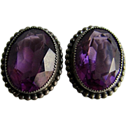 Vintage Sterling Silver Danecraft with Hallmarks Amethyst Paste Facetted Stone 18mm x 10mm Clip Earrings