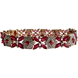Vintage Sterling Silver GP Diamond and Enhanced Ruby Concealed Box Clasp Bracelet