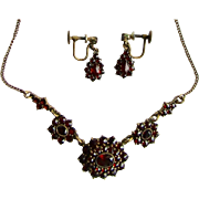 Antique GP Rose Cut Genuine Garnet Necklace and Matching Screw Back Earrings Set
