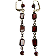 Little Creations Garnet Gems & Garnet Beads SP Leverback Drop Pierced Earrings