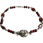 Little Creations Garnet Gems and Garnet Beads, SP Bezels and Wire with Rhodium Plated Cubic Zirconia Bracelet