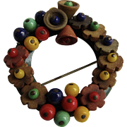 Vintage Wooden Flower Beads and Coloured Bead Wreath on Hammered Metal Back Brooch