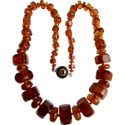 Vintage Sterling Silver Topaz Paste - 63 grams of Graduated Clarified Natural Baltic Amber Bead Necklace