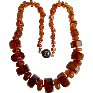Vintage Sterling Silver Topaz Paste and Graduated Clarified Natural Baltic Amber Necklace