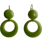 Vintage Green Bakelite Hoop and Cabochon Leverback Pierced Earrings