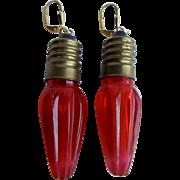 Vintage Hard Molded Plastic Christmas Bulb Leverback GP Pierced Earrings