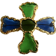 Vintage Signed Joy Resin Plique a Jour Stained Glass Resin Brutalist Style Blue and Green Cross GP Brooch