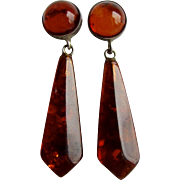 Vintage Natural Baltic Clarified Amber Briolette Drop and Cabochon  Pierced Silver Plate Earrings
