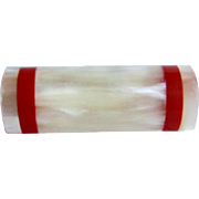 Vintage Curved and Half Cut Tube Creamy White Marbleized Lucite and Red Band Brooch