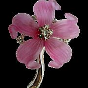 Vintage Pink Plastic Flower Rhinestone Center with Swivel Stem Brooch