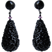 Vintage Glass Brutalist Design Briolette Drops with Lucite Cabochon Tops Stainless Posts Earrings