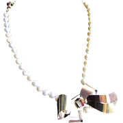 Little Creations 12kt GF Red and White Paste Brooch/ Pendant Cultured Freshwater Pearl 18kt Gold Plated Clasp Necklace