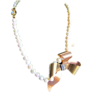 Little Creations 12kt GF Blue and White Paste Brooch/ Pendant Cultured Freshwater Pearl 18kt Gold Plated Opal Clasp Necklace
