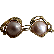 Vintage Cultured Pearl Boutonniere GP Sterling Silver Italian Highly Crafted Pierced Earrings