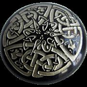 Vintage Carved Basalt Stone Celtic Knot Theme Brooch Signed Joy
