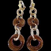 Little Creations Bakelite Amber Graduating Hoops GP Leverback Pierced Earrings