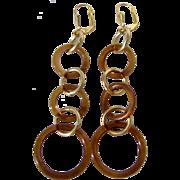 Little Creations Bakelite Amber Graduated 3 Rings Pierced GP Lever back Earrings