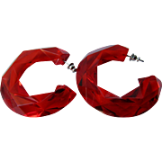 Vintage Transparent Red Facetted Hard Plastic Huge Scale Pierced Earrings