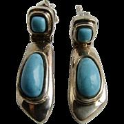 Vintage Sterling Silver Genuine Turquoise Cabochon Hinge Pierced Earrings