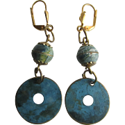 Little Creations Enamel Turquoise Marbleized on Copper with GP Leverback Earrings