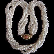 Vintage 18kt Clasp Japanese Cultured Freshwater Pearl Torsade Necklace