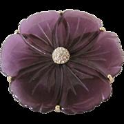 Vintage Transparent Purple with Rhinestone Pave Center GP Frame Large Scale Flower Brooch