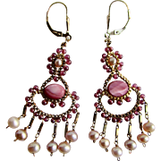 Vintage GP Chandelier Rhodochrosite Cabochon and Garnet with Cultured Freshwater Pearl and GP Lever back Earrings