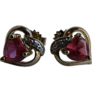 Vintage Lab Created Ruby Heart Shaped Gem and Real Diamond Pierced Heart Sterling silver with GP Earrings.