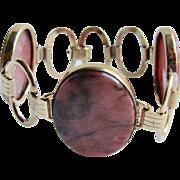 Vintage Signed EB Engel Brothers 12k GF Rhodonite Cabochon Link Bracelet