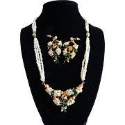 Vintage Natural Freshwater Pearls and Green Glass Pierced Earrings and Cluster Torsade Necklace GP Set