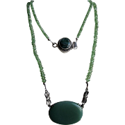 Little Creations Sterling Green Jadeite Pendant and SP with Emerald Cabochon and Tsvorite Garnet Necklace