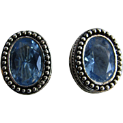 Vintage Avon of Belleville SP Aquamarine Paste Gems Clip Earrings ,The Canadian other Avon company