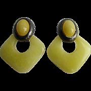 Vintage Doorknocker SP Omega Back Yellow Quartz Pierced Earrings