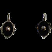 Antique Genuine Jet and Natural Pearl GP Shepherd's Hook Pierced Earrings