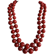 Art Deco Bakelite Lipstick RED Swirl 2 Strand Graduated Necklace