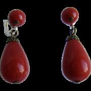 Art Deco Bakelite Lipstick RED Huge Drop Pierced Earrings