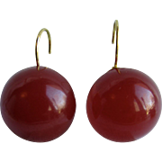 Little Creations Red Prystal Bakelite Translucent  Bakelite 21mm Cabochon Lever Back Pierced Earrings