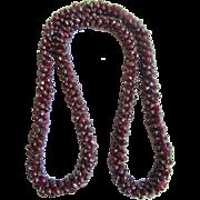 Vintage Rhodolite Garnet in a Woven Rope Eternity Strung Necklace