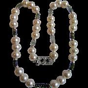 Vintage 12kt South Sea Cultured Pearl 9.30- 10mm Semi-Baroque & Tourmaline & Blue Sapphire & Diamond Necklace