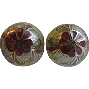 Vintage Plique a Jour Domed Stained Glass GP Pierced Earrings