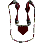 Art Deco Modernist Galalith Burgundy & Brass Necklace